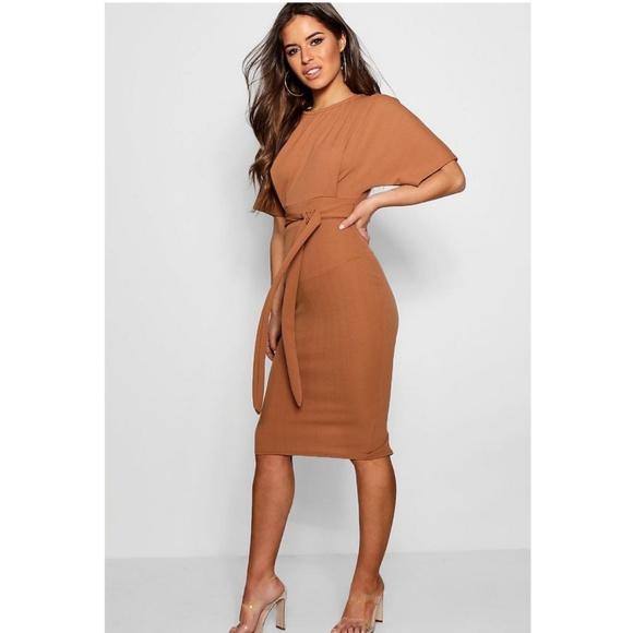 c29bc5ebff743 Boohoo Petite Dresses | Nwt Camel Tie Waist Midi Dress | Poshmark
